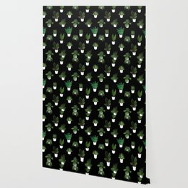 Houseplants Illustration (black background) Wallpaper