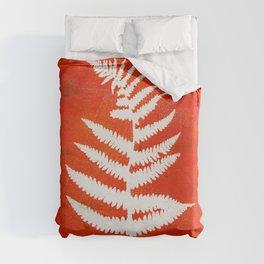 Bright Orange Fern Duvet Cover