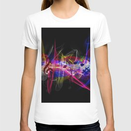 Colorful musical notes and scales artwork T-shirt