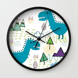 Cool T-rex Fun party teal #homedecor Wall Clock