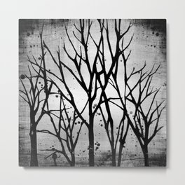 Branches Screen Print and Painting Black and White Metal Print