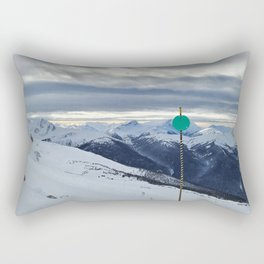 Green ski run sign with a view Rectangular Pillow