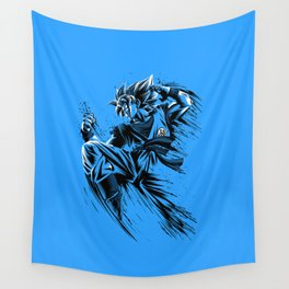 Blue Sketch Ink Wall Tapestry
