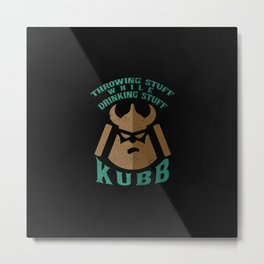 Kubb Viking Chess and Party Gift Idea Metal Print