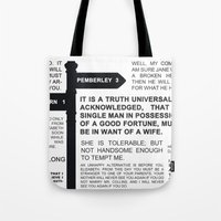 pride and prejudice Tote Bags featuring Pride & Prejudice by The Real Veda
