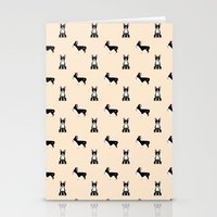boston terrier Stationery Cards featuring Boston Terrier by Luiza Sequeira