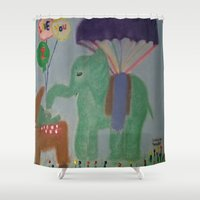 baby elephant Shower Curtains featuring Elephant with Baby Elephant by SBHarrison