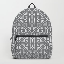 Ultimate Gray White embroidery vintage Farmhouse cross-stitch pattern Backpack