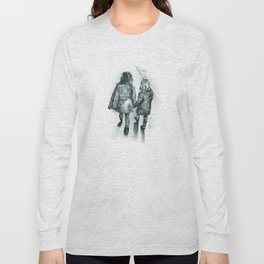 Sisterly Love (Walking Hand-in-Hand) Pencil Drawing Long Sleeve T-shirt
