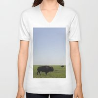 buffalo V-neck T-shirts featuring Buffalo by AlanW