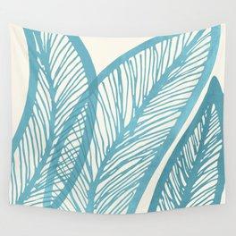 Blue Banana Leaf / Tropical Plants Wall Tapestry