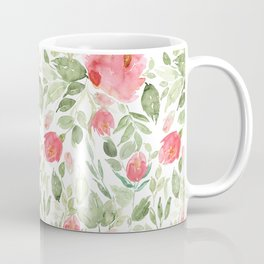 Painted Watercolour Garden Red Roses Coffee Mug
