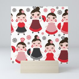 Seamless pattern spanish Woman flamenco dancer. Kawaii cute face with pink cheeks and winking eyes. Mini Art Print