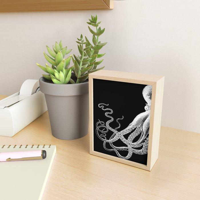 Half Octopus (Left Side) | Black and White Framed Mini Art Print