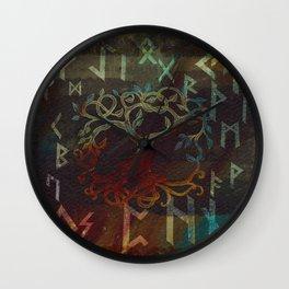 Tree of life  -Yggdrasil - and runes Wall Clock
