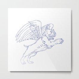 American Bully With Wings Drawing Metal Print
