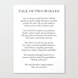 The Tale of Two Wolves Canvas Print
