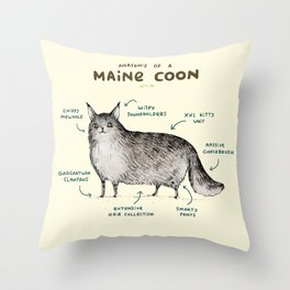 Anatomy of a Maine Coon Throw Pillow