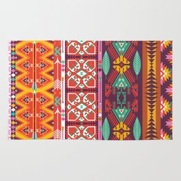 Seamless colorful aztec carpet with birds,flowers and arrow Rug