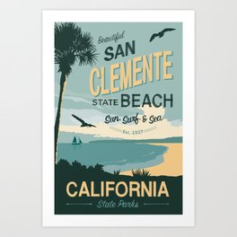 San Clement State Beach Travel Poster Art Print