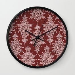 Beautiful lace like mirrored symmetry artistic curves pattern in white with dark red background Wall Clock