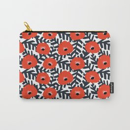 Summer Poppy Floral Print Carry-All Pouch