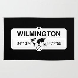 Wilmington Map GPS Coordinates Artwork with Compass Rug