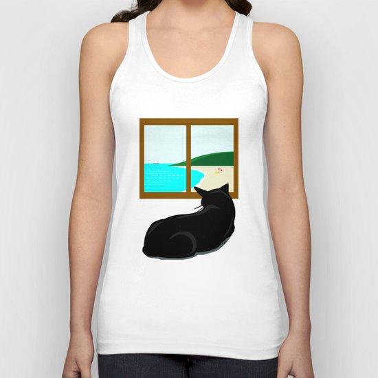 Landscape and cat Unisex Tank Top