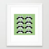 pandas Framed Art Prints featuring Pandas by Alexandra Baker