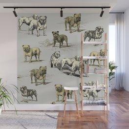 ENGLISH BULLDOGS & French Gray Wall Mural