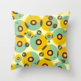 Turntables (Yellow) Throw Pillow