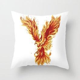 Phoenix Rising Fire Bird Mythical Artwork  Throw Pillow