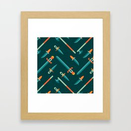 Wild Weapons Swords and Knives Pattern Framed Art Print