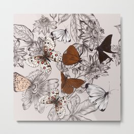 Victorian style classic pattern with butterflies and tropical flowers Metal Print