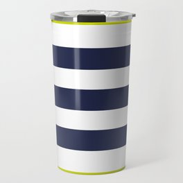 Modern Classy Navy Blue Lime Green STRIPES Travel Mug