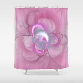 Pink Abstract Fractal on Pink Shower Curtain