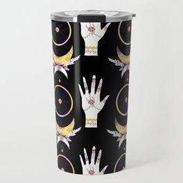 Bohemian hands moon and star black Travel Mug