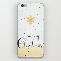 merry christmas iPhone & iPod Skins featuring Merry Christmas by Earthlightened