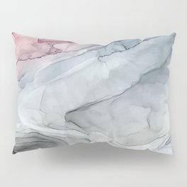 Pastel Blush, Grey and Blue Ink Clouds Painting Pillow Sham