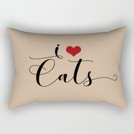 I Heart Cats featuring Spring 2017 Pantone Color Hazelnut Rectangular Pillow