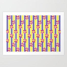 Complementary Color Series: 2. Purple and Yellow Gradient with Flowers Art Print