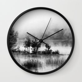 Watercolor Landscape on Water (Black and White) Wall Clock