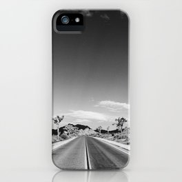 Horizontal print of open road in Joshua Tree California, landscape iPhone Case