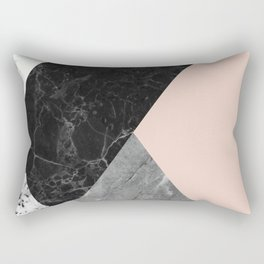 Black and White Marbles and Pantone Pale Dogwood Color Rectangular Pillow