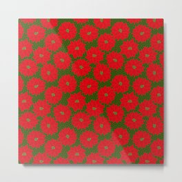 Festive Florals - Red Poinsettia on Green Metal Print