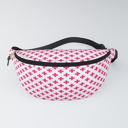 Small Hot Neon Pink Crosses on White Fanny Pack