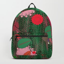 New year lights bulb and pine tree pattern Backpack