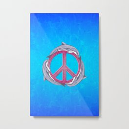 Dolphin Peace Pink Metal Print