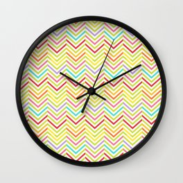 Colorful pink green red geometric zigzag chevron pattern Wall Clock