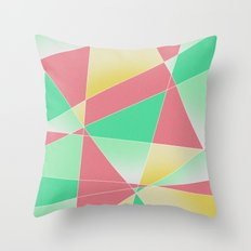 Geometric Fractal Strawberry Mint Ice Cream Throw Pillow